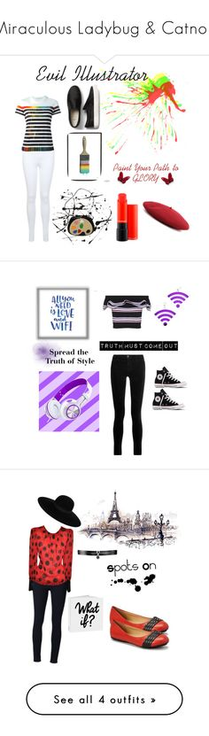 Miraculous Ladybug & Catnoir by maricruzgarcia on Polyvore featuring polyvore, fashion, style, Lisa Perry, Miss Selfridge, Mary Katrantzou, Gucci, Moschino, Baccarat, clothing, PBteen, Marina Fini, MSGM, Converse, J Brand, Frame Denim, Tory Klein, Fallon, Maison Michel, Michael Kors, Delalle, Bling Jewelry and Simplify