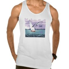 """Dad"" Sailboat Fine Jersey Tank Top by MoonDreams Music #tanktop #mens #jersey #sailboat #beach #fashion #summer #dad #FathersDay #moondreamsmusic"