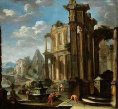 "Giovanni Paolo Panini (1691 Piacenza - 1765 Rome), A pair of paintings ""Architectural cappriccios with antique ruins"" and ""Children playing in a stream"""