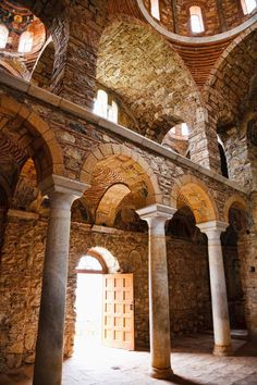 *GREECE ~ Inside one of the monuments in Mystras, ancient Byzantine city in Greece. I liked this architecture and details também.Inside one of the monuments at Mystras old Byzantine town, in Lakonia, Greece. Architecture Byzantine, Church Architecture, Ancient Architecture, Greece Destinations, Byzantine Art, Romanesque, Kirchen, Ancient Greece, Greek Islands