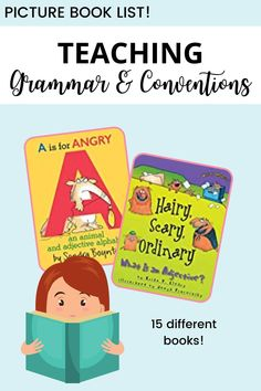Make your grammar and conventions lessons fun with picture books! This list of 15 picture books is perfect for K-2 students. Teaching Grammar, Teaching Tips, First Grade, Second Grade, Sandra Boynton, Collective Nouns, Nouns And Verbs, Fiction Writing, Picture Books