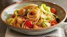 Ribbony Shrimp and Pasta Scampi recipe from Food Network Kitchen via Food Network- Healthy Shrimp Recipes Seafood Dishes, Pasta Dishes, Seafood Recipes, Pasta Recipes, Dinner Recipes, Cooking Recipes, Healthy Recipes, Healthy Meals, Pasta Food