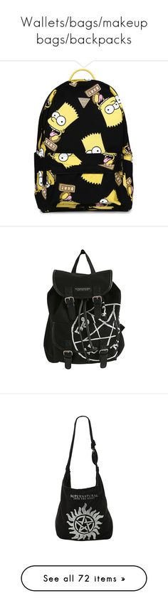 """""""Wallets/bags/makeup bags/backpacks"""" by xxghostlygracexx ❤ liked on Polyvore featuring bags, backpacks, accessories, sac, black, fake bags, rucksack bags, joyrich bag, polyester backpack and daypack bag"""