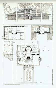 Original construction plans for The Winslow House, 1894, by Frank Lloyd Wright