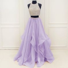 Two Piece Long Open Back Lavender / Mint Prom Dress with Beading