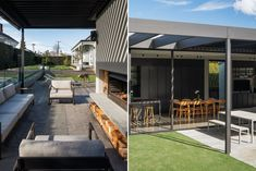 Villa gone rogue Outdoor Seating Areas, Outdoor Spaces, Outdoor Decor, Villa Game, Aluminium Joinery, Sliding Screen Doors, Gone Rogue, Roof Lines, Modern Backyard