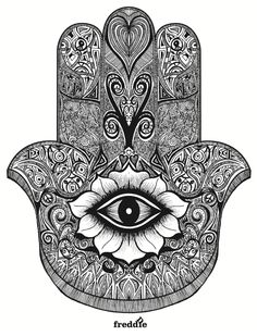 "Hamsa is the Arabic word for ""five"" and represents the five digits of the hand. The Hamsa is universal sign of protection, and is often combined with the Evil Eye to ward anyone who wants to harm you. According to the history of this symbol, Hamsa Hand Tattoo, Hand Tattoos, Tatoos, Hamsa Art, Hand Henna, Symbol Tattoos, Mandala Tattoo, Tattoo Main, Hand Der Fatima"