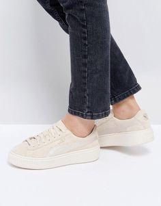 new style 6de0e 8f6d8 Puma Suede Satin Platform Sneakers in Beige