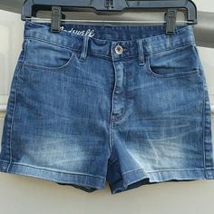 Madewell High-Waisted Shorts SUPER cute high waisted shorts from Madewell in a medium wash. Size 26. They are in EUC. Don't want to give these up but sadly they've gotten a bit small for me :( also there are some faint pink marks on the inside (see last pic) but they are unnoticeable, clean and 100% invisible on the outside (as you can see in the 3rd pic). Madewell Shorts
