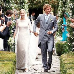 Beatrice Borromeo and Pierre Casiraghi . Giorgio Armani emphasizes with understated elegance the charm of Beatrice Borromeo in her most important day . Beatrice Borromeo, Armani Gowns, Valentino Gowns, Royal Brides, Royal Weddings, Civil Ceremony, Wedding Ceremony, Lace Wedding Dress, Wedding Gowns