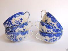 19th Vintage Japanese Antique Kutani Blue White Thin Porcelain Tea Set 6 Cups #Japan