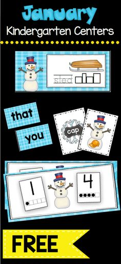 FREE January themed Math and Literacy centers for Kindergarten - CVC words - counting and cardinality 1-20 - vocabulary - sight words - sums of five and more!