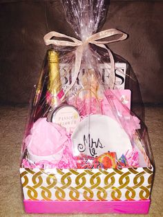 Engagement gift basket I made for my newly engaged best friend!!! Wedding // Engaged // Engagement // Pink // Champagne // Maid of Honor // Bridesmaids // Future Mrs.