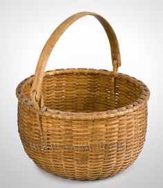 Wrap is intact and the basket remains in fine condition. Dimensions: 13 by Apple Baskets, Old Baskets, Vintage Baskets, Baskets On Wall, Wicker Baskets, Pine Needle Crafts, Early American Furniture, Making Baskets, Painted Baskets