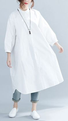Women Solid Shirt Fashion Loose Blouses 2019 Spring#whitedress#Looseshirtdress