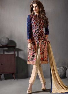Navy Blue Beige Embroidery Resham Work Georgette Silk Pakistani Suit http://www.angelnx.com/Salwar-Kameez/Pakistani-Suits