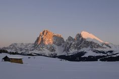 Sunset in Winter on the Seiser Alm