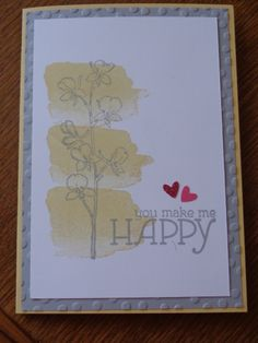 """Stampin' Up """"Happy Watercolor"""" stamp set from 2014 Occasions catalogue, and """"Decorative Dots"""" embossing folder Sale-a-brations 2014. So Saffron and Smokey Slate card stock and ink."""