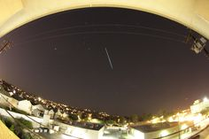 Astrophotographer Maxim Senin set up a camera with a fisheye lens to shoot automatically overnight on Dec. in Redondo Beach, California, and discovered the next day that he had caught some Geminid fireballs in over 1600 exposures. Night Sky Photos, Pale Blue Dot, Meteor Shower, Solar Eclipse, Space Travel, Stargazing, Night Skies, Good Night, Cosmos