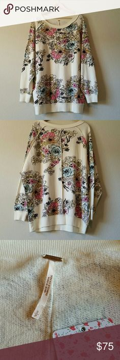 "Free People Go On Get Floral Pullover size S NWT Measures approximately 30"" from pit to pit, 30"" long. Super oversized! Floral print throughout with seams on outside. Can be worn low or off shoulder. Free People Tops Sweatshirts & Hoodies"