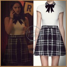 Veronica Lodge wears an altered sleeveless version of this black and white bow collar tweed Gail dress by Alice Olivia on Riverdale Veronica Lodge Outfits, Veronica Lodge Fashion, Veronica Lodge Style, Outfits Riverdale, Riverdale Fashion, Preppy Outfits, Mode Outfits, Classy Outfits, Fashion Tv