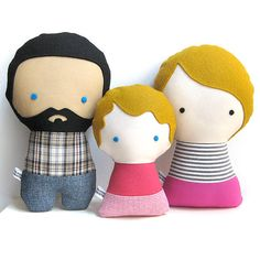 Handmade Personalized Family. Rag doll. Custom your own family. Customize