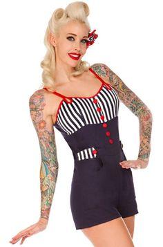 Voodoo Vixen Sailor Stripe Playsuit - Voodoo Vixen