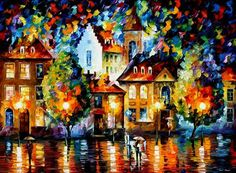 pintura de pareja bajo la lluvia - Google Search
