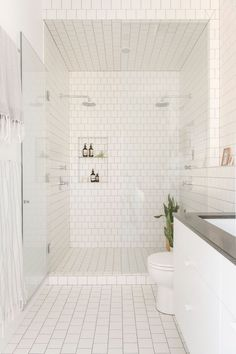 Two shower heads, subway tile, glass door