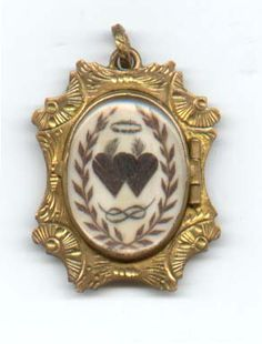 locket with picture made from hair