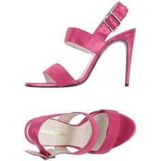 Mauro Grifoni Sandals ($280) ❤ liked on Polyvore featuring shoes, sandals, fuchsia, stiletto sandals, leather sole shoes, high heel stilettos, buckle sandals and leather sandals