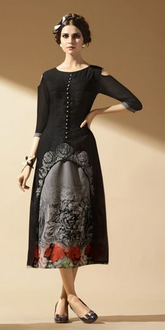 Click On Bazaar Black & Grey Colored Faux Georgette Kurti.