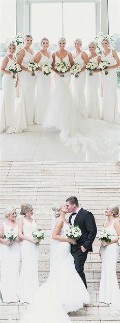 Mermaid Deep V-Neck Long Cheap White Satin Sleeveless Bridesmaid Dresses Online, Simple Bridesmaid Dresses, Bridesmaid Dresses Online, Wedding Dresses, Bridesmaids, Bridesmaid Proposal, Party Dresses, Wedding Flowers, Bridal Shower Attire, Unique Bridal Shower