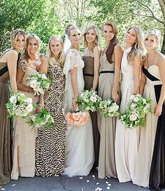 I love all of my girls because they are special. Mismatched but still complimenting dresses allows them to become the group of superheros I will need... Molly Sims's maids wore a collection of mismatched printed and colored gowns.