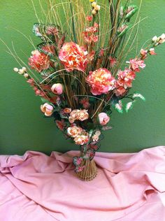 Handmade Artificial Floral Arrangement  Long by KsHandmadeFlorals, $45.00