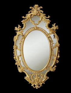 A GEORGE II OVAL GILTWOOD MIRROR (4466301) (c. 1755 England)Dimensions 83.00cm wide 155.00cm high (32.68 inches wide 61.02 inches high)he design of this mirror very closely resembles a drawing in Thomas Chippendale's first edition of 'The Gentleman and Cabinet-Maker's Director'.   Price: £50,000-£100,000