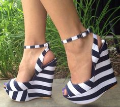 ISO Navy & White Striped Wedges Size 9 I'm looking for these. Don't know the brand. Need size Please tag me Shoes Wedges Pretty Shoes, Beautiful Shoes, Cute Shoes, Me Too Shoes, Zapatos Shoes, Shoes Heels, Flats, Stiletto Heels, Heeled Boots