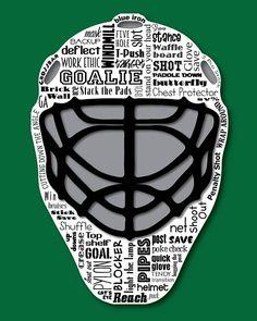 Hockey Goalie Shootout & Net / Word Art Typography / Home Hockey Goalie, Ice Hockey, Hockey Crafts, Hockey Room, Coach Gifts, Words To Describe, Word Art, Original Artwork, Sports