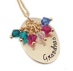 Personalized Gold Grandma Necklace  Hand Stamped  by Stampressions