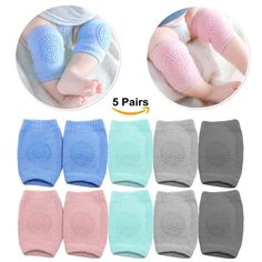 Clearance Kids Sock Baby Kneepads Overall Size Crawling Anti-Slip Knee Unisex Breathable Toddlers Kneepads 5 Pairs Super Value 5 pairs, Soild Color