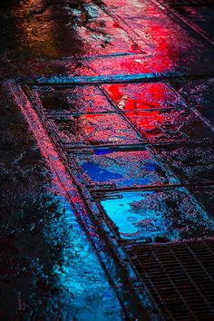 Reflection Photograph - Sidewalk Reflections by Garry Gay Rain Photography, Reflection Photography, Street Photography, Color Photography, Ville Cyberpunk, City Lights, Street Lights, Red Lights, Chiaroscuro