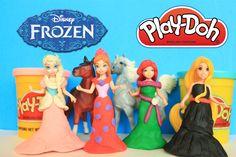Play Doh MagiClip Fashion with Disney FROZEN Elsa Anna, Ariel Rapunzel p...