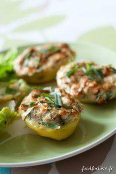 Pommes de Terre Farcies au Saumon, Fromage Frais et Estragon http://www.foodforlove.fr/pommes-de-terre-farcies-au-saumon-fromage-frais-et-estragon/