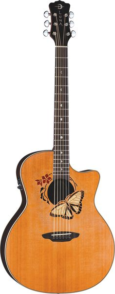 Luna Guitars - Oracle Butterfly, the guitar I want.  Goal, fix my current guitar and continue to learn to play. Once I do that, I will start to save up for this guitar.
