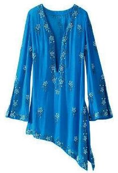 Quite like this asymmetrical tunic top in bright blue