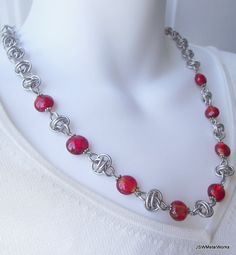 Long Red Barrel Weave Aluminum Chainmail Necklace by JSWMetalWorks