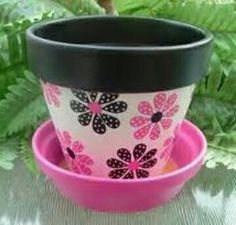 Pink and Black Hand Painted Flower Pot