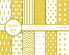 Gold Digital Paper Christmas Scrapbook Paper by Pininkie on Etsy, $4.00