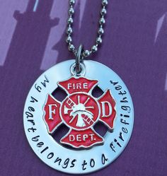 Firemans Wife Necklace  My Heart Belongs to by StampedWithPassion, $21.99