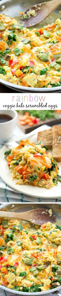 Loaded with a rainbow of fresh veggies and topped with lots of cheese, these scrambled eggs are the ultimate healthy way to start the day! @WholeHeavenly